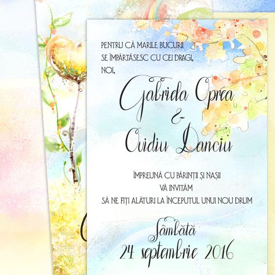 Invitatie de nunta ilustrata in culori vii cu pereche de indragostiti (3)