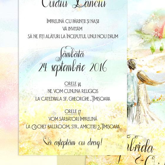Invitatie de nunta ilustrata in culori vii cu pereche de indragostiti (4)
