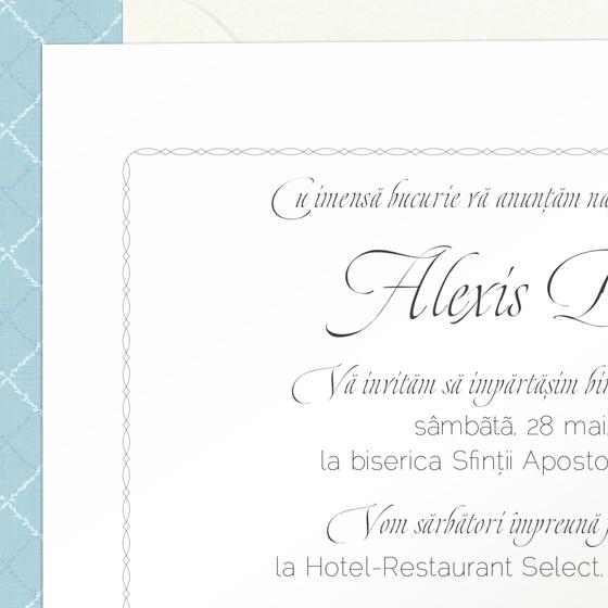 Invitatii botez elegante - Alexis - YorkDeco