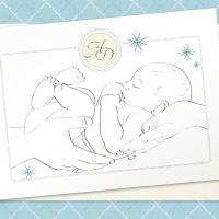 {Alexis}: Invitatii de botez elegante cu desen nou-nascut