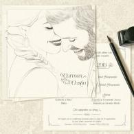Invitatii nunta unicat cu portret desenat miri - YorkDeco