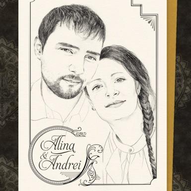 Invitatii unicat cu portret- Alina si Andrei - YorkDeco