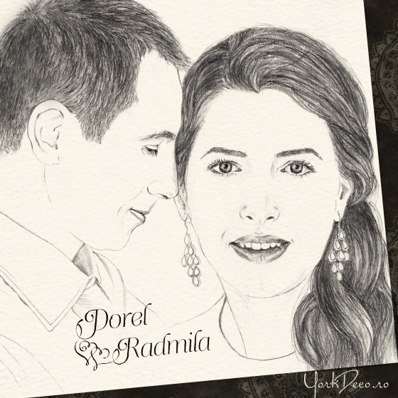 Invitatii unicat cu portret - Dorel si Radmila - YorkDeco