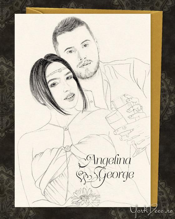 Invitatii unicat desenate - Angelina si George - YorkDeco