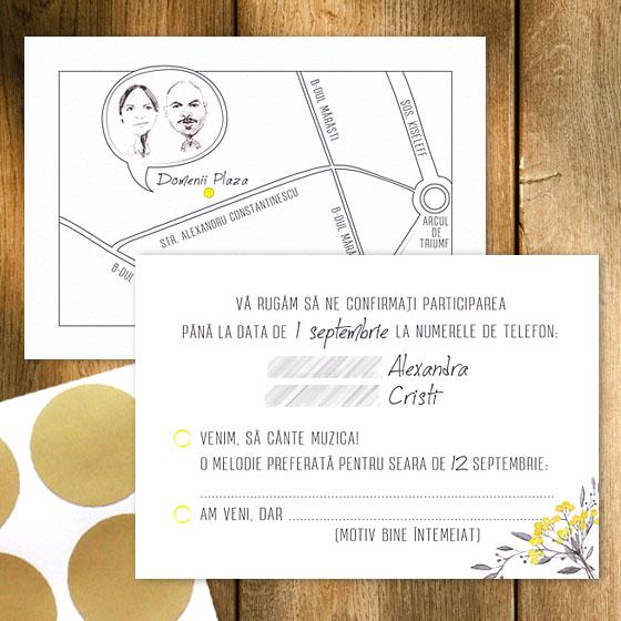 Invitatie de nunta rustica - card confirmare cu harta - Yorkdeco