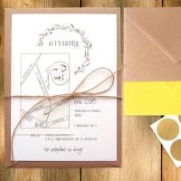 Invitatie de nunta simpla si eleganta, cu tema rustica si harta