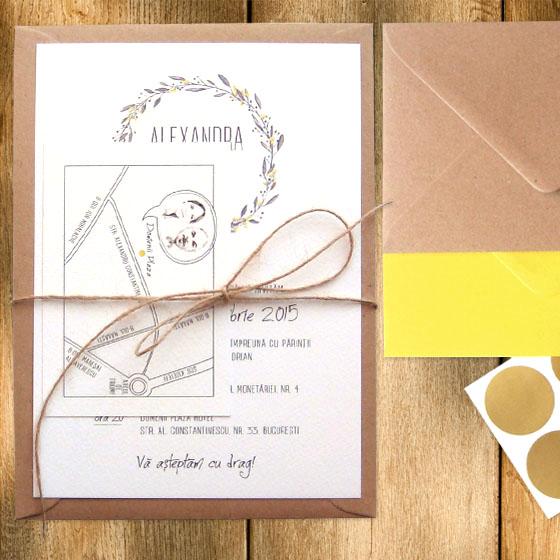 Invitatie De Nunta Simpla Si Eleganta Cu Tema Rustica Si Harta