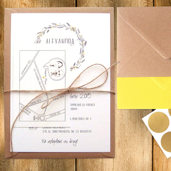 Invitatie de nunta rustica la comanda cu harta - Yorkdeco