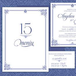 Invitatii nunta elegante bleumarin cu meniu - Royal Affair - Yorkdeco