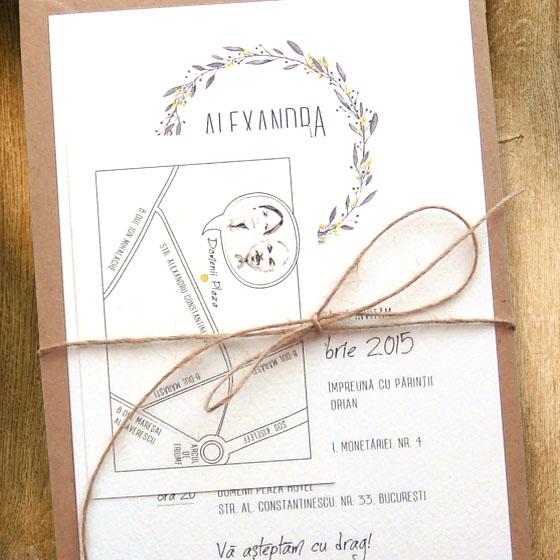 Invitatii nunta la comanda cu tema rustica si card cu harta - Yorkdeco