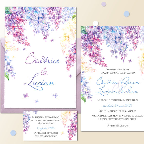 Invitatii nunta cu flori de liliac (2)