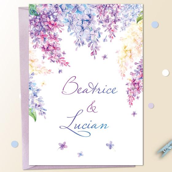 Invitatii nunta cu flori liliac