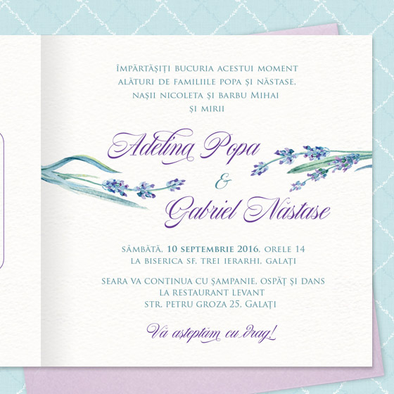 Provence Invitatii Nunta Cu Lavanda Yorkdeco Atelier Invitatii