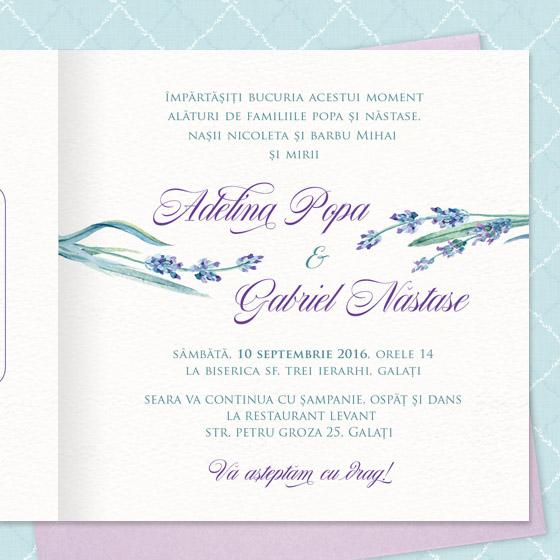 invitatii nunta cu lavanda - Yorkdeco