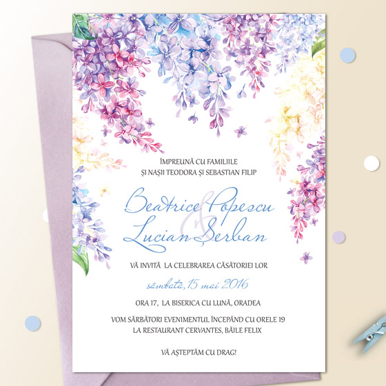 Invitatii nunta de primavara cu liliac