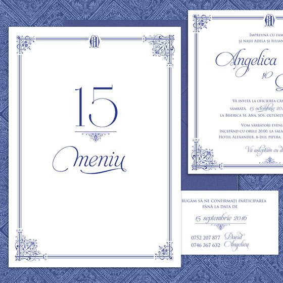 Invitatii nunta elegante albastre cu meniu - Royal Affair - Yorkdeco