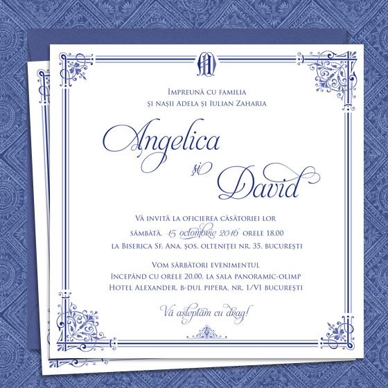 Invitatii nunta elegante albastre - Royal Affair - Yorkdeco