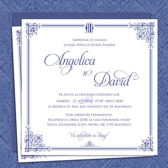 A Royal Affair Invitatii Nunta Regale In Nuante De Bleumarin Cu
