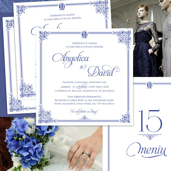 Invitatii nunta regale in nuante de bleumarin - Royal Affair - Yorkdeco