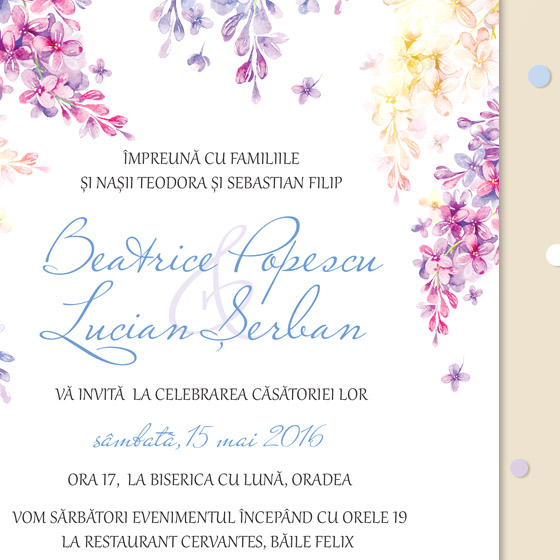 Invitatii romatice cu liliac