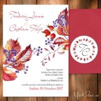 {Amber}: Invitatii nunta de toamna, cu frunze ruginii pictate in acuarela si sticker personalizat