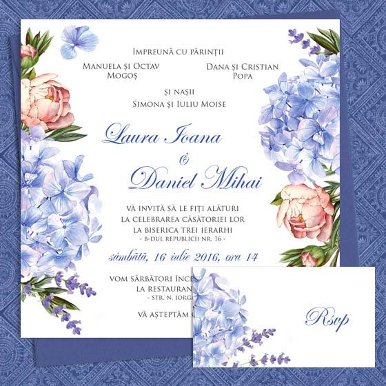 Invitatii nunta cu hortensie, bujor si levantica