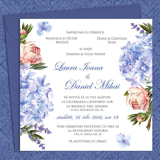 Invitatii nunta cu lavanda, hortensii si bujori