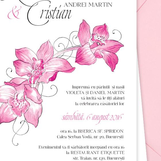 Invitatii nunta cu orhidee - detaliu - Caledonia