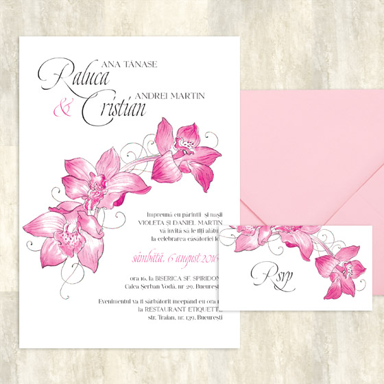 Invitatii nunta cu orhidee si card de confirmare - Caledonia