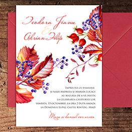 Invitatii nunta de toamna - Amber - Yorkdeco