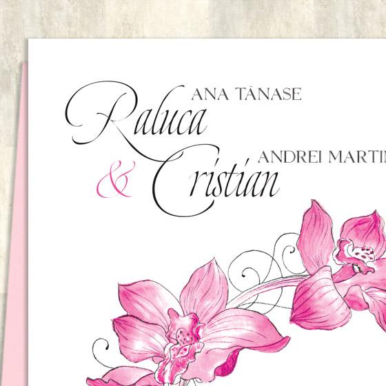Invitatii nunta orhidee - detaliu - Caledonia