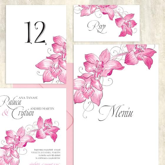 Meniu nunta cu orhidee, numere de masa - Caledonia