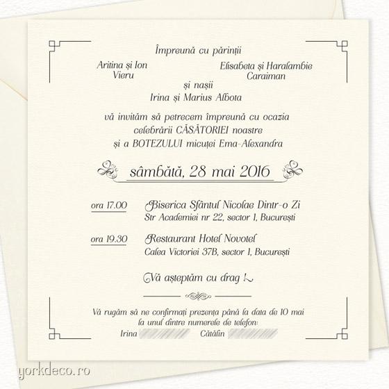 invitatii 2 in 1 nunta si botez - la comanda cu portret