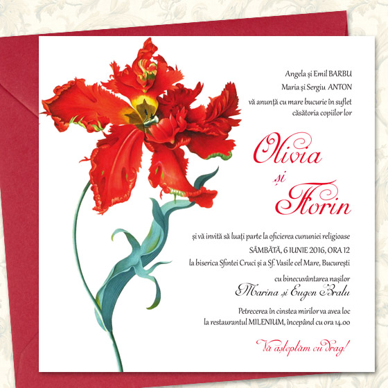 Invitatii nunta cu lalele - Rococo - Yorkdeco