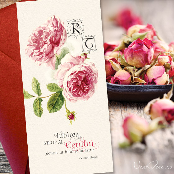 Antique Rose Invitatii De Nunta Vintage De Lux Cu Trandafiri