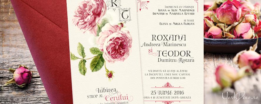 invitatii-vintage-cu-trandafiri-pictati-citat-si-monograma-antiquerose