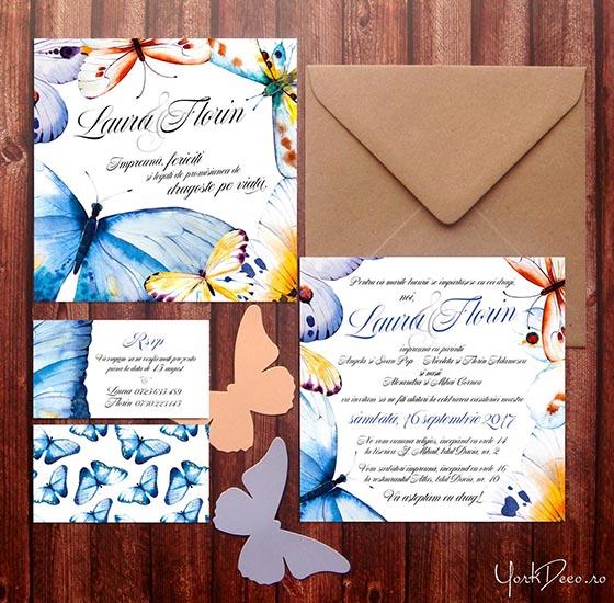 Promise Invitatii Nunta Cu Fluturi In Acuarela Yorkdeco