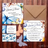 {Promise}: Invitatii nunta cu fluturi in acuarela