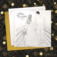 {Portret Plus}: Invitatii de nunta la comanda cu portretul mirilor, plus ilustratie