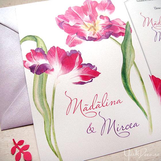 invitatii-nunta-cu-lalele-roz-si-mov