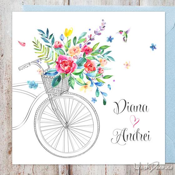 invitatii-nunta-moderne-cu-bicicleta-flori-acuarela-si-pasare-colibri-summer-time
