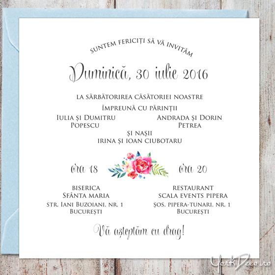 Invitatii Nunta De Vara Cu Bicicleta Flori Acuarela Si Sticker