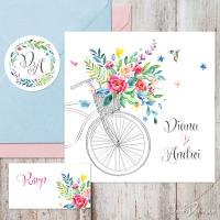 Invitatii nunta de vara cu bicicleta, flori acuarela si sticker personalizat