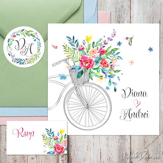 summer-time-invitatii-nunta-de-vara-cu-bicicleta-flori-acuarela-si-sticker-personalizat_560-2