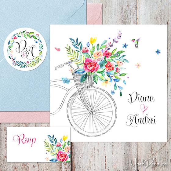 summer-time-invitatii-nunta-de-vara-cu-bicicleta-flori-acuarela-si-sticker-personalizat_560px