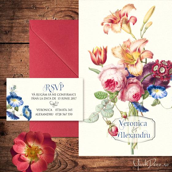 invitatii-de-nunta-vintage-cu-crini-lalea-si-trandafiri-heritage-yorkdeco