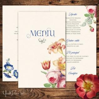 Meniu nunta vintage cu trandafiri, lalele, crini - Heritage - Yorkdeco
