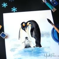 Invitatii botez cu pinguini imperiali pictati in acuarela