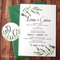 {Diana}: Invitatii pentru nunta in stil grecesc, cu frunze de maslin