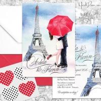 {Paris}: Invitatii nunta pariziene cu pereche indragostiti si Turnul Eiffel